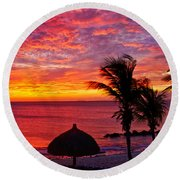 Bonaire Sunset 1 Round Beach Towel