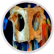 Bone And Paint Abstract Round Beach Towel