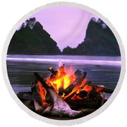 Bonfire On The Beach, Point Of The Round Beach Towel