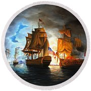 Bonhomme Richard Engaging The Serapis In Battle Round Beach Towel