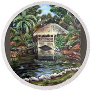 Bonnet House Chickee Round Beach Towel