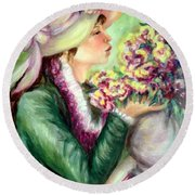 Bonnet Of Flowers Round Beach Towel