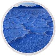 Bonneville Salt Flats At Dusk Round Beach Towel