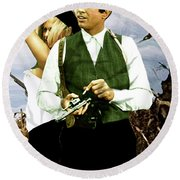 Bonnie And Clyde Round Beach Towel