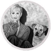 Bonnie Hunt And Charlie Round Beach Towel