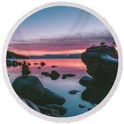 Bonsai Rock Sunset Round Beach Towel