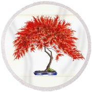 Bonsai Tree - Inaba Shidare Round Beach Towel