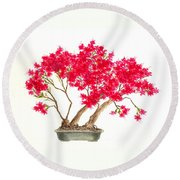 Bonsai Tree - Kurume Azalea Round Beach Towel