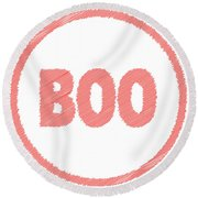 Boo Rubber Stamp Round Beach Towel