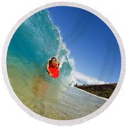 Boogie Boarding At Makena Round Beach Towel