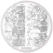Boonies, Burbs And Boutiques Of Pi Round Beach Towel