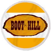 Boot Hill Log Sign Round Beach Towel