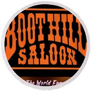 Boot Hill Saloon Sign Round Beach Towel