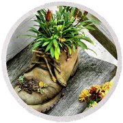 Booted Plant Round Beach Towel