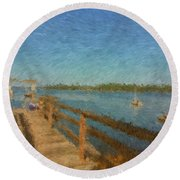 Boothbay Front Ocean View At Sunrise Round Beach Towel