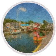Boothbay Harbor At 5 Round Beach Towel
