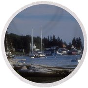 Boothbay Harbor In Maine Round Beach Towel