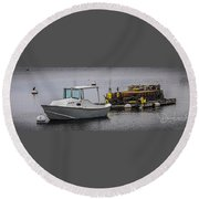 Boothbay Harbor, Me Round Beach Towel