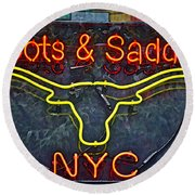 Boots And Saddle Nyc Round Beach Towel