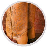 Boots With Spurs Round Beach Towel