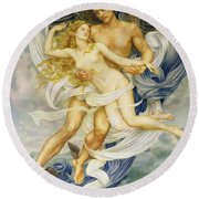 Boreas And Oreithyia Round Beach Towel by Evelyn De Morgan