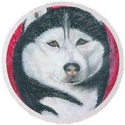 Boris The Siberian Husky Round Beach Towel