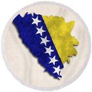 Bosnia And Herzegovina Map Art With Flag Design Round Beach Towel