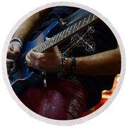 Boss Guitar Player Round Beach Towel by Bob Christopher