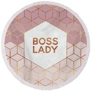 Boss Lady Round Beach Towel