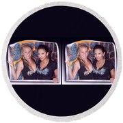 Bossom Buddies - Gently Cross Your Eyes And Focus On The Middle Image Round Beach Towel