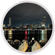 Boston Along The Charles River Round Beach Towel