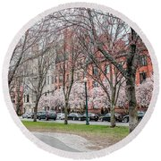 Boston Back Bay In Spring Round Beach Towel