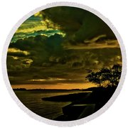 Boston Bay Sunrise Round Beach Towel