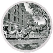 Boston Buggy Round Beach Towel