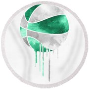 Boston Celtics Dripping Water Colors Pixel Art Round Beach Towel
