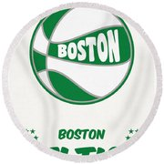 Boston Celtics Vintage Basketball Art Round Beach Towel