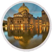 Boston Christian Science Building Reflecting Pool Round Beach Towel