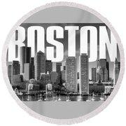 Boston Cityscape Round Beach Towel