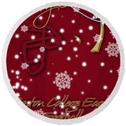 Boston College Eagles Christmas Card Round Beach Towel