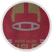 Boston College Eagles Vintage Football Art Round Beach Towel