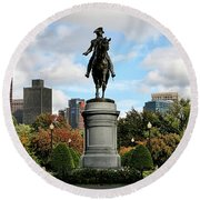 Boston Common Round Beach Towel by DJ Florek