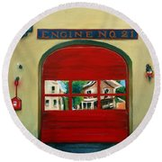 Boston Fire Engine 21 Round Beach Towel