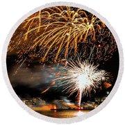 Boston Fireworks On The Charles Round Beach Towel