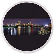 Boston Harbor Nights-panorama Round Beach Towel by Joann Vitali