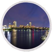 Boston Harbor Skyline Round Beach Towel by Joann Vitali