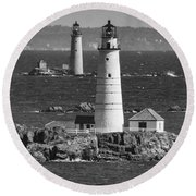 Boston Light With Graves Light Round Beach Towel