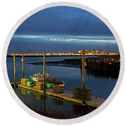 Boston Ma Belle Isle Boat Pier And Skyline Logan Airport Round Beach Towel