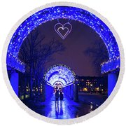 Boston Ma Christopher Columbus Park Trellis Lit Up For Valentine's Day Rainy Night Round Beach Towel