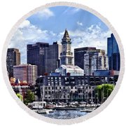 Boston Ma - Skyline With Custom House Tower Round Beach Towel