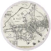 Boston Map, 1722 Round Beach Towel